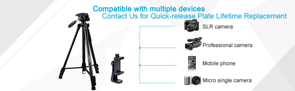 Universal quick-release plate camera tripod