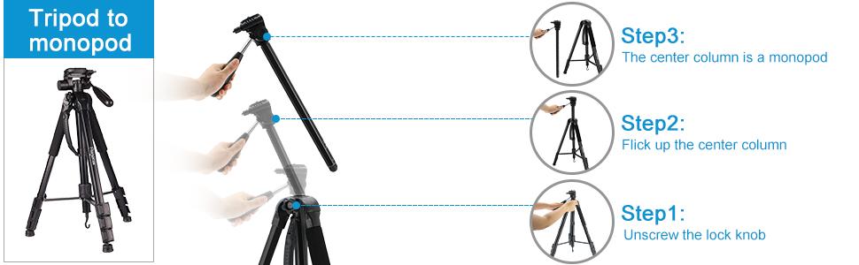camera tripod to monopod