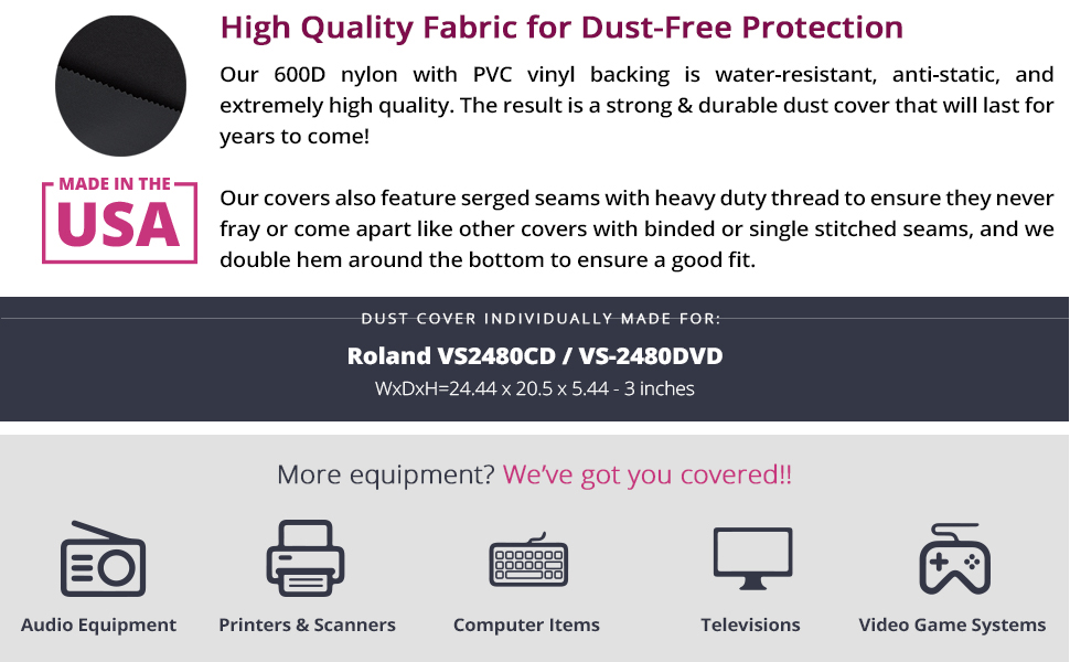 Protective Dust Cover for Roland VS2480CD VS-2480DVD Water Resistant, Antistatic, Black by DigitalDeckCovers