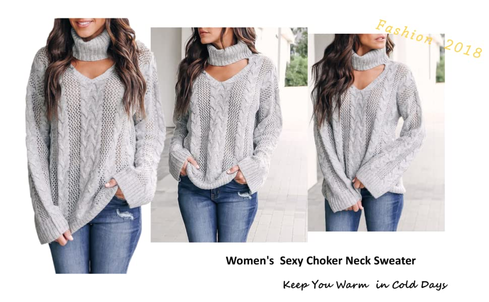 d7bef253fd2 Womens Choker Sweater Plus Size Sexy V Neck Turtleneck Cable Knit ...