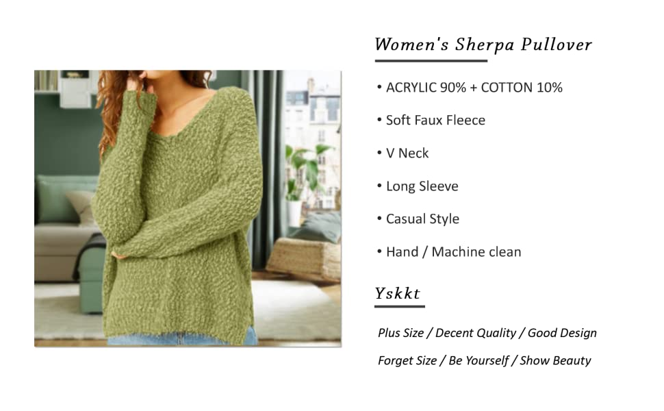 Womens Sherpa Pullover Plus Size Tops Fuzzy Sweater V Neck Light Sherpa Fleece Fluffy Long Sleeve Sweatshirts