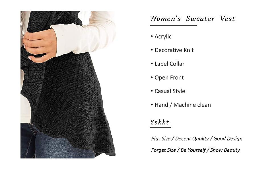 Yskkt Womens Sweater Vest Plus Size Cable Knit Open Front Cardigans