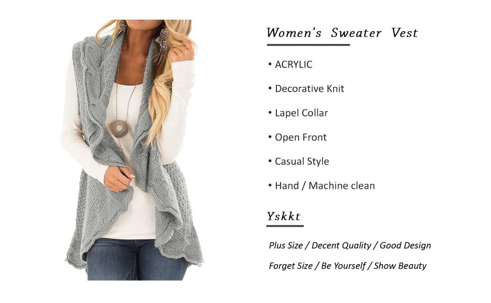0130e93c592 YSkkt Womens Sweater Vest Plus Size Cable Knit Open Front Cardigans Fall  Jackets Winter Coats Outwear