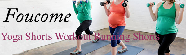 Foucome Womens Maternity Over The Belly Active Lounge Comfy Yoga Short Workout Running Athletic Non See-Through Yoga Shorts