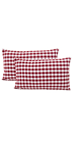 buffalo decor red check pillow covers linen cushion cases red pillow covers throw pillows red