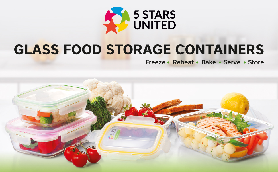 Glass Food Storage Containers with Lids stars united