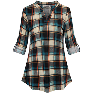 573e880a46033b Ouncuty Fall 3 4 Sleeve Tunics Women V Neck Plaid Henley Blouses ...