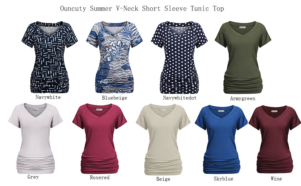 099d09bcb00e Ouncuty Womens Summer V Neck Short Sleeve Ruched Side Tunic Shirts ...