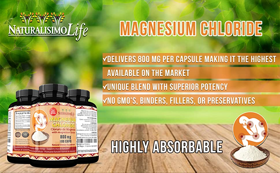 Cloruro de Magnesio Magnesium Chloride 800mg 100 capsules high absorption with magnesium citrate
