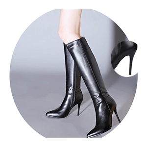 85cd4238277 vocosi Women's Leather Knee High Boots Pointy Toe Side-Zip High Heels Dress  Boots
