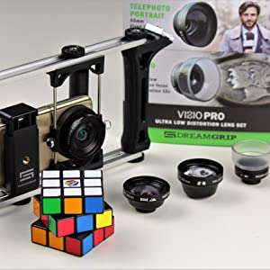 dreamgrip, smartphone optics, visio pro, smartphone lens kit, moment,exolens,lens adapter, video rig