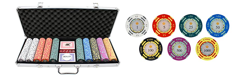 Versa Games 500 piece Crown Casino Poker Chips