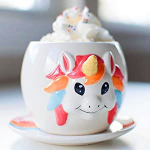 A photo of a unicorn mug as part of a unicorn tea set
