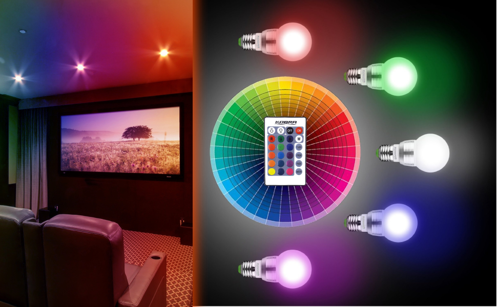 Colored Led Lights >> Kobra Led Bulb Color Changing Light Bulb With Remote Control 4 Pack 16 Different Color Choices Smooth Flash Or Strobe Mode Premium Quality Energy