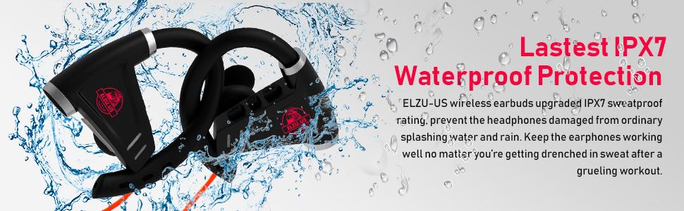 Bluetooth Headphones 12+ Hours Battery - Best Wireless Sport Earphones, Mic - IPX7 Waterproof