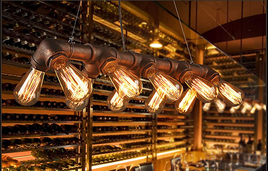 Winsoon retro industrial steampunk lamp iron pipe island for Iron pipe ceiling light