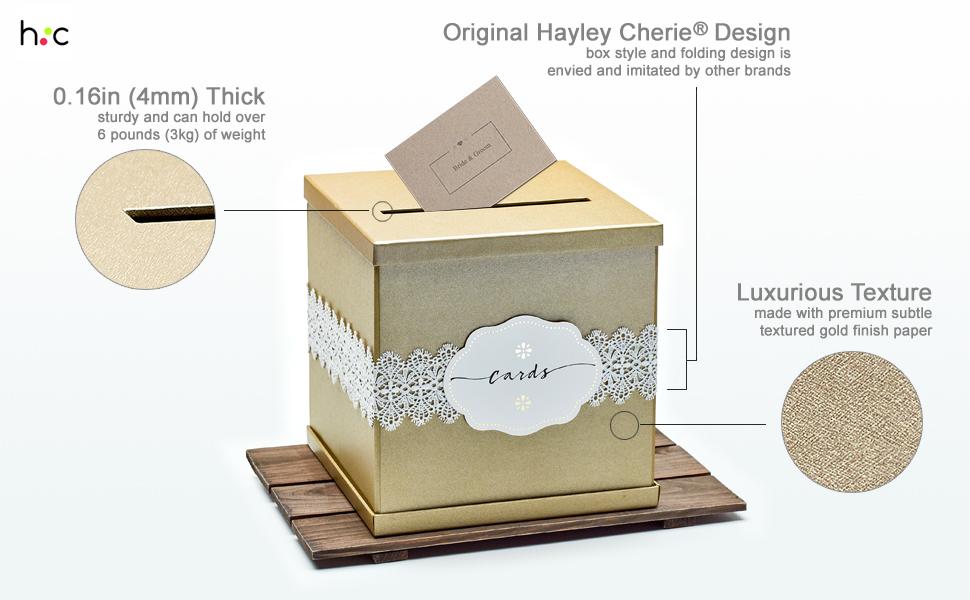 gold wedding gift card box