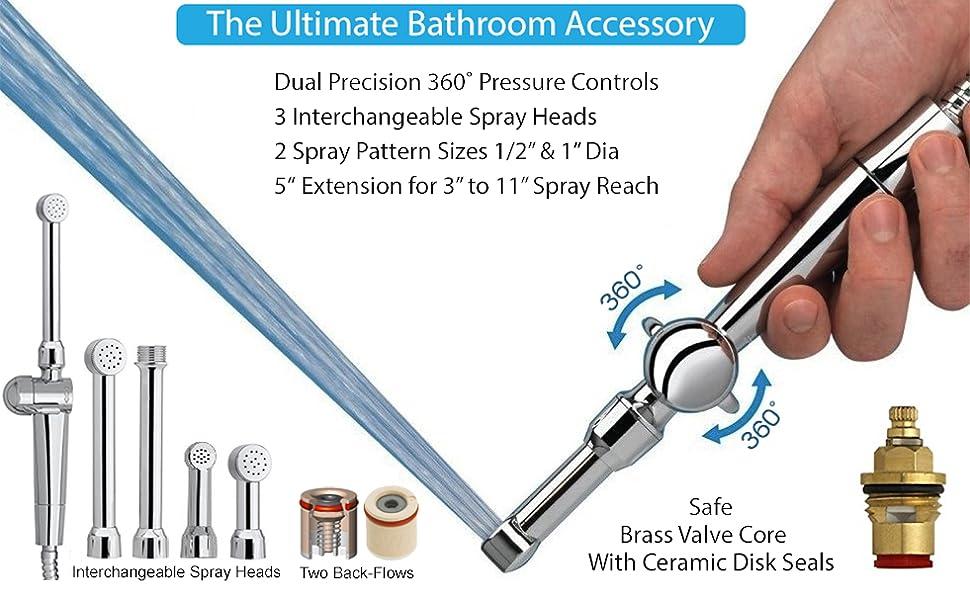 hand held bidet sprayer for toilet shattaf Aquaus 360 spray up