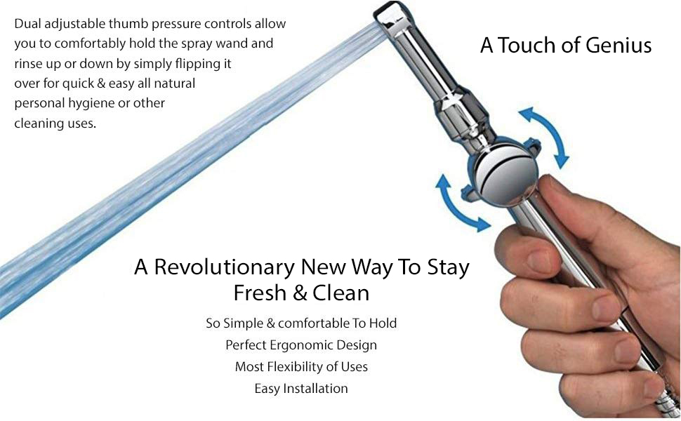 hand held bidet sprayer for toilet shattaf Aquaus 360 by RinseWorks