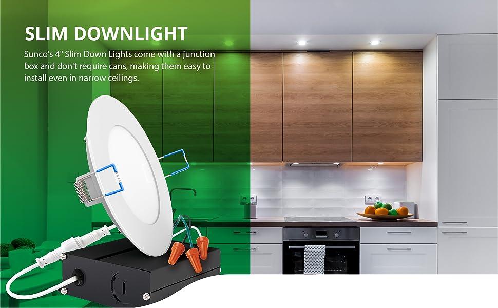 4 Inch Slim LED Downlight Junction Box Dimmable Recessed Jbox Fixture Retrofit ETL Energy Star