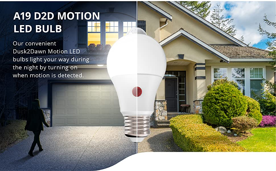 A19 LED Bulb Dusk-to-Dawn Motion Detection 9W 4000K Cool White PIR Photocell Sensors Security