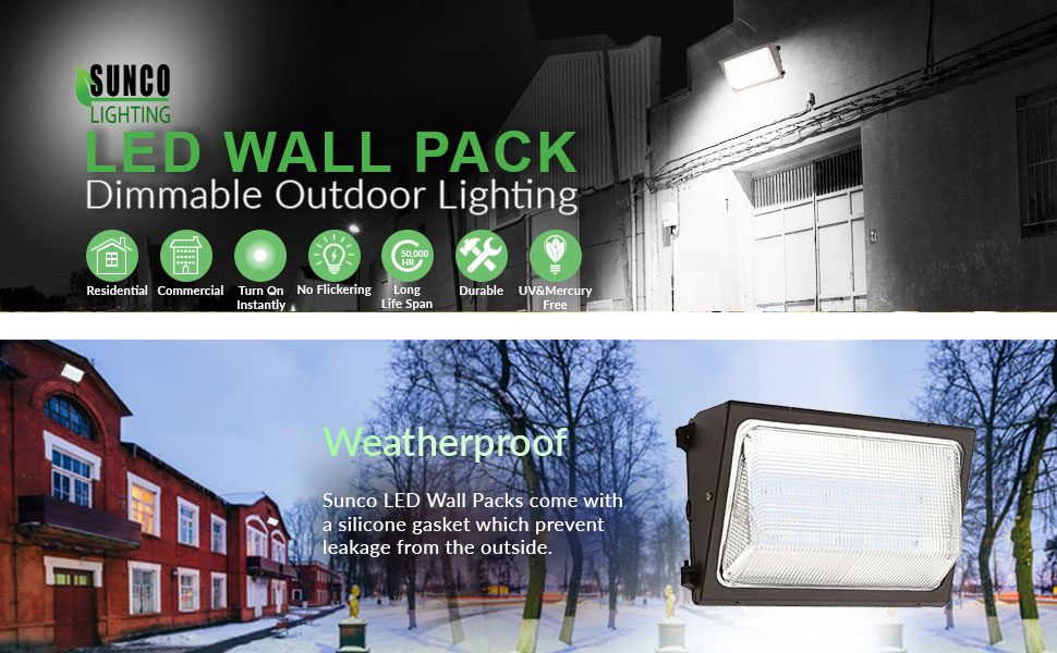 sunco lighting led 120w wall pack outdoor lighting 5000k cool white lumen 800 watt equivalency replacement life hours highest quality - Led Wall Pack
