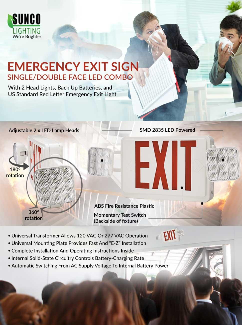 Sunco lighting ul listed singledouble face led combo emergency emergency operation 90 minutes minimum arubaitofo Choice Image
