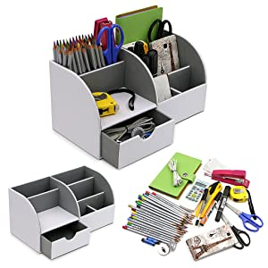 Objective 7 Storage Compartments Multifunctional Leather Office Desktop Organizer Business Card Pen Pencil Mobile Phone Holder Storage Office & School Supplies