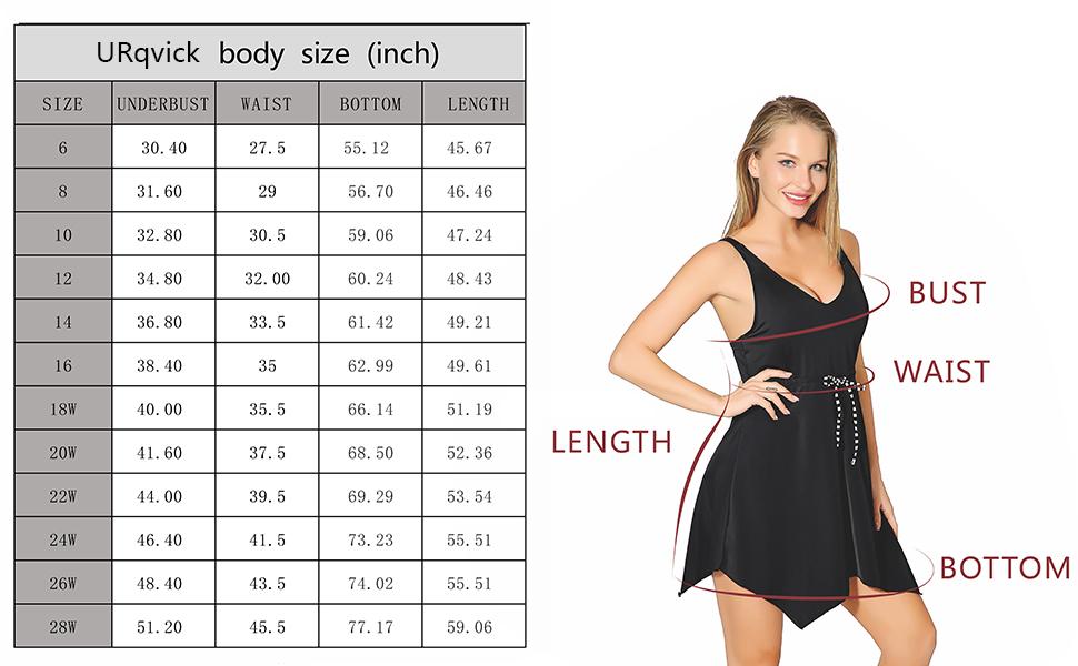 Urqvick Women S Plus Size Asymmetric Hem Swimdress V Neck Slimming Build In Push Up Padded Functional Drawstring Bathing Suit