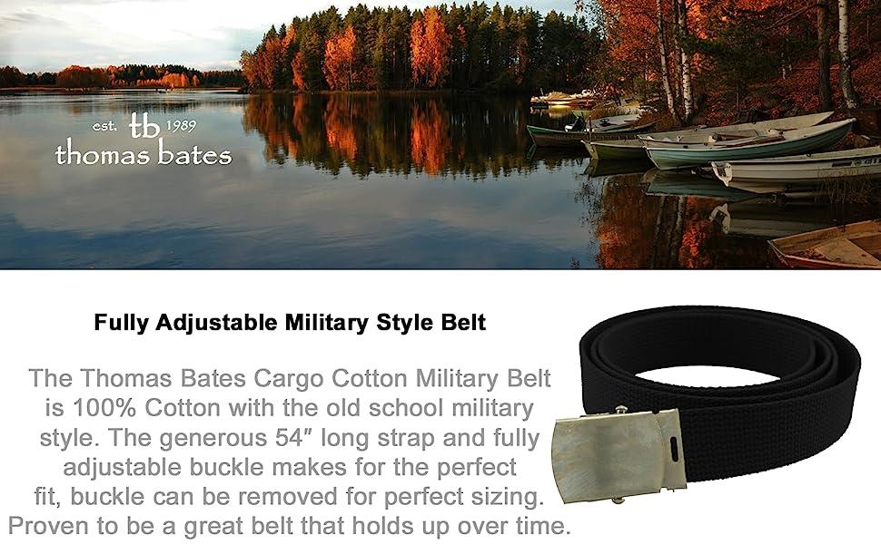 Thomas Bates belts cotton cargo military style strap adjustable outdoor army uniform