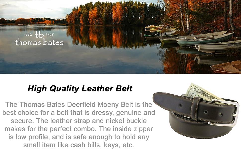 New Thomas Bates Men/'s Deerfield Leather Money Belt