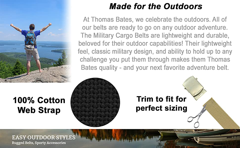 Thomas Bates belts cotton cargo military style strap adjustable outdoor army uniform cut to size