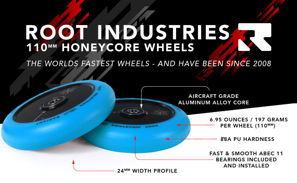 Root Industries AIR Wheels 110mm - Pro Scooter Wheels 110mm Pair - Scooter Wheels - Fits Most Setups - 24mm x 110mm - Bearings Installed - 90 Day ...