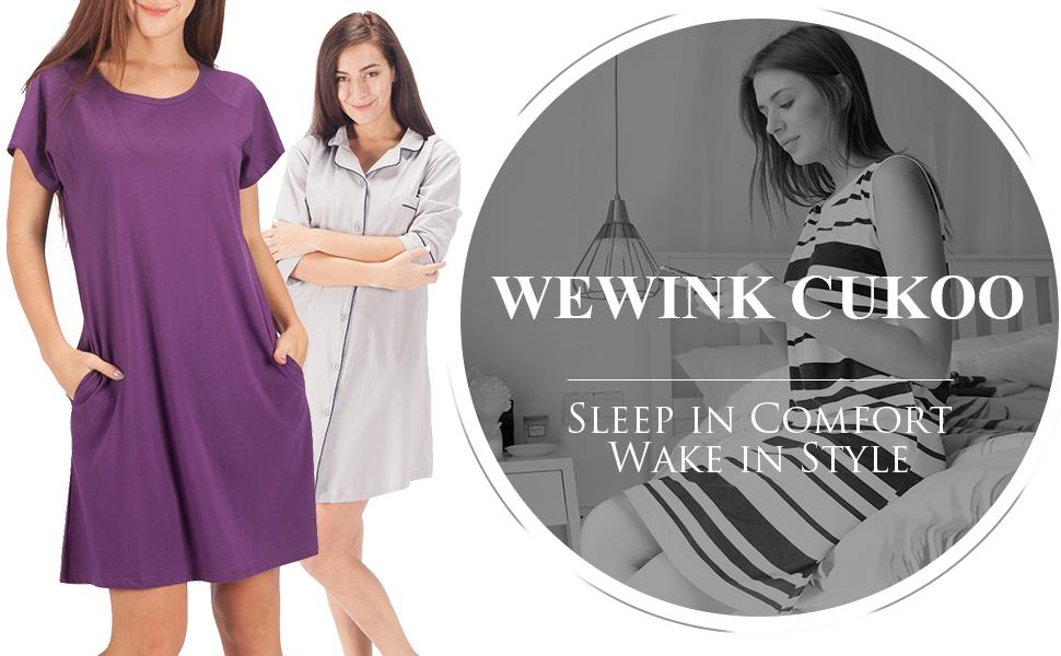 945584d33e WEWINK CUKOO Womens Sleepwear Cotton Nightshirt Short Sleeve Boyfriend  Sleep Dress Shirt