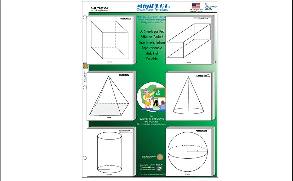 MiniPLOT Graph Paper: 20 pads of 3x3 pre-printed Sticky Notes taking notes in class. Pads contain 50 sheets of releasable adhesive backed XY axis coordinate grid paper Use for homework