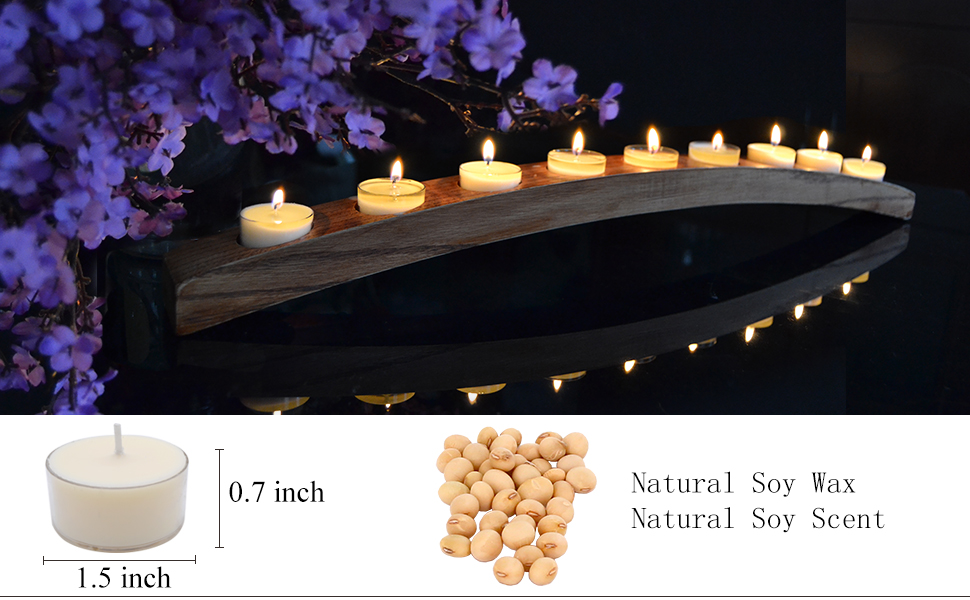 Natural White Color TELOSMA Soy Tealight Candle Natural Soy scented Clear Cup Candles Set of 12