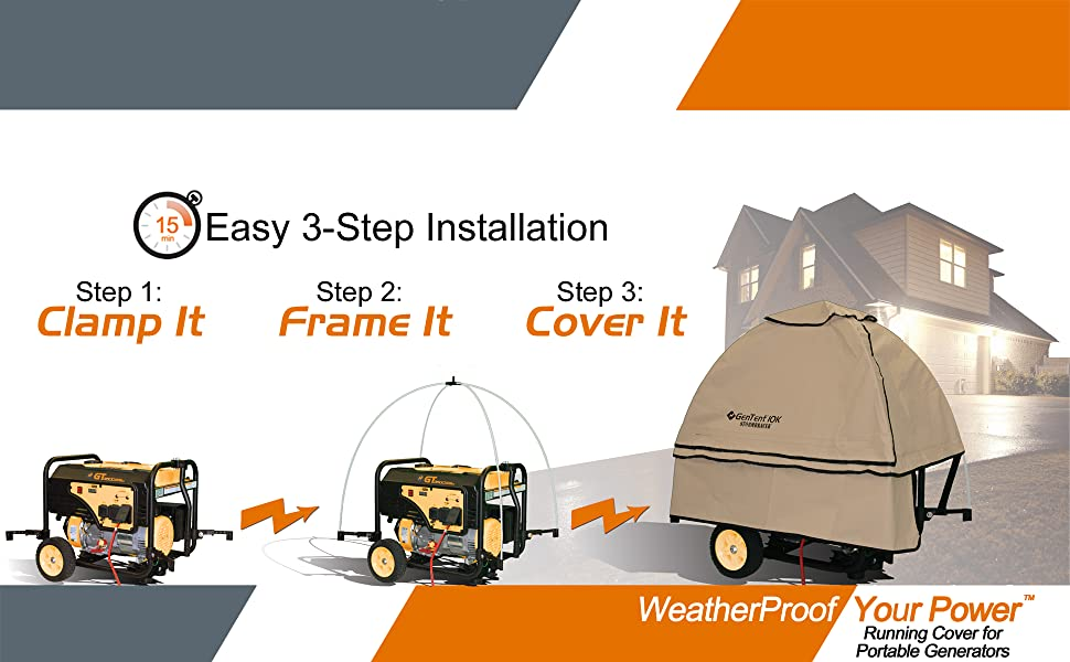 Run your generator in rain, snow, ice & wind. Easy 3 step setup. Running cover for your generator.