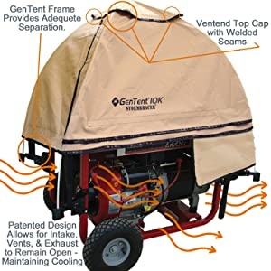 GenTent Running Covers protect your generator but keeps your generator safe, dry, cool and portable.