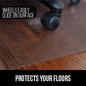 hard wood floor chair mat does not sink and wheels glide on mat to protect scratching hard floors
