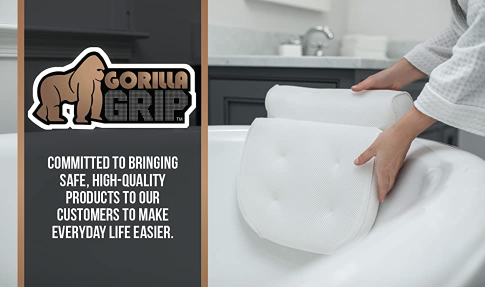 Amazon.com: GORILLA GRIP Original Premium Spa Bath Pillow with 6 ...