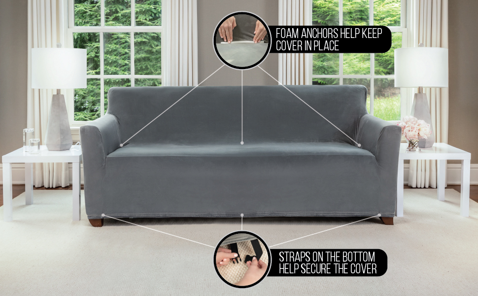 slipcover on sofa covers furniture for protection, foam anchors secure the fit, straps are secured