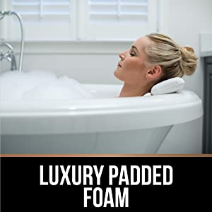 Luxury padded foam on three panel bath pillow provides additional comfort to help support neck