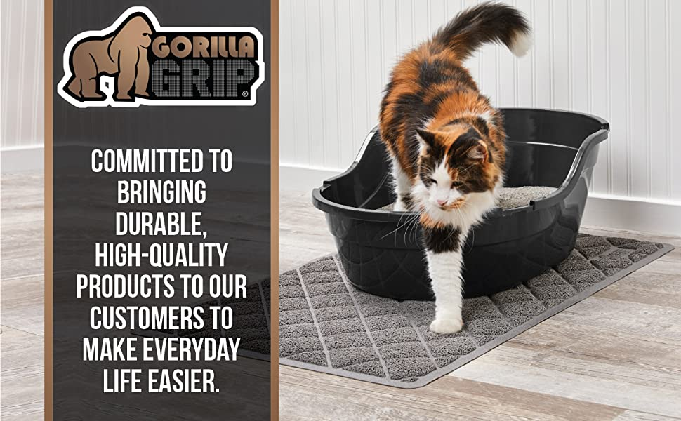 cat exiting litter box with cat mat