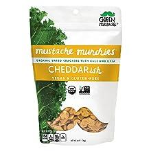 cheddar organic cracker snack gluten-free dairy-free vegan mustache