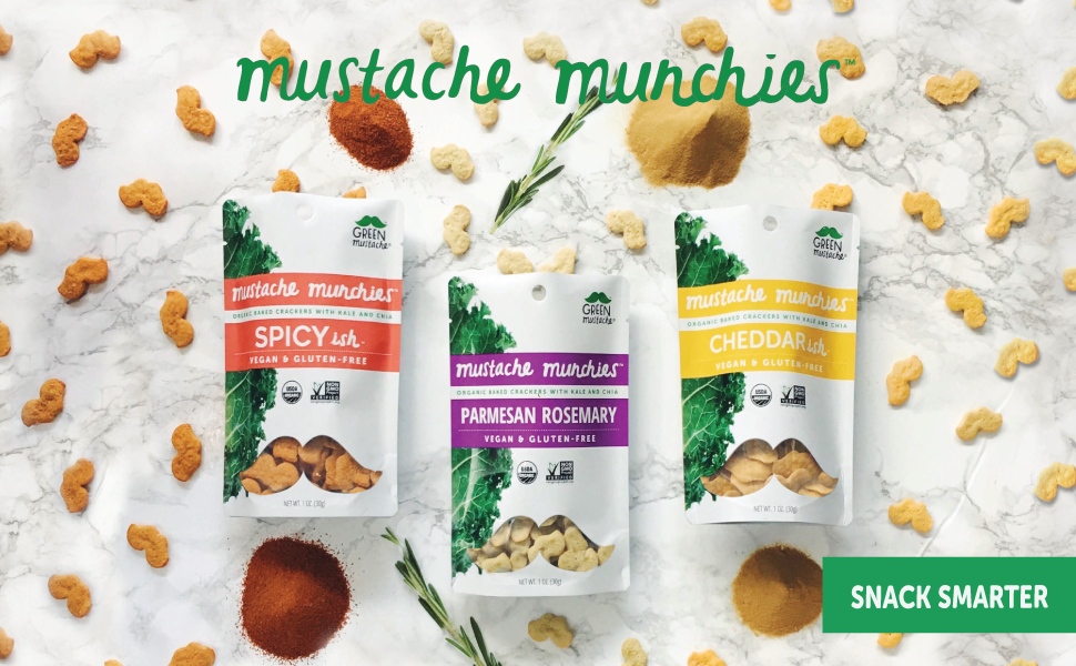 mustache munchies, crackers, snacks, gluten free, vegan, spicy, parmesan, rosemary, cheddar