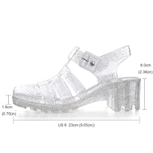 7e84d257c65f Amazon.com  Women Crystal Jelly Sandals Summer Women Rain Boots ...