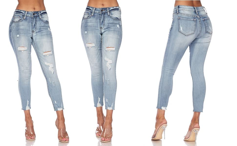 7cm Womens Junior Ripped Fashion Mid Rise Skinny Crop Jeans - Destroyed Pull-on Ladies Jegging