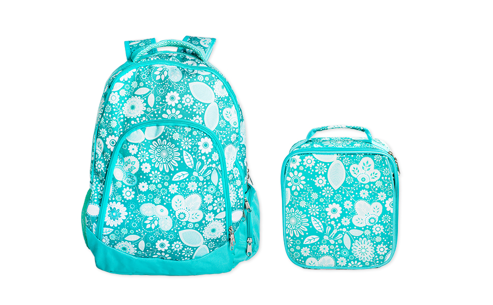 9a92635aed47 Reinforced Water Resistant School Backpack and Insulated Lunch Bag Set -  Teal Floral Motif