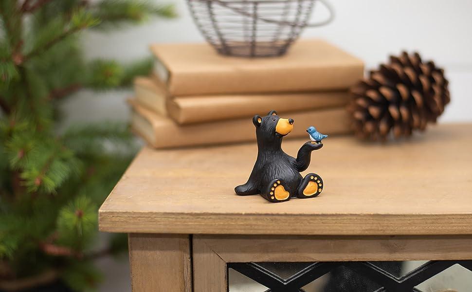 Demdaco Big Sky Carvers Minnie Bear with Bird Mini Figurine