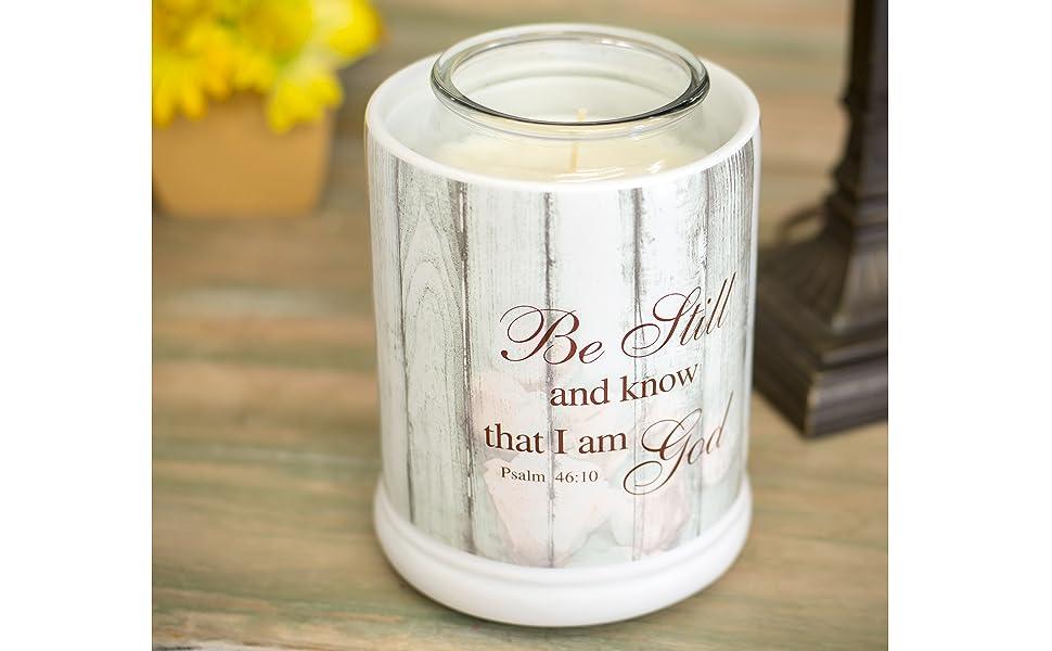 Be Still Psalm 46:10 Distressed Wood Design Ceramic 2 in 1 Jar  and Wax Warmer